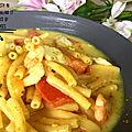 One pan pasta au crevettes, cabillaud et lait de coco ( 450 cal/par personne)