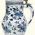 A pewter mounted Dutch Delft `Bleu Persan' jug, early 18th century
