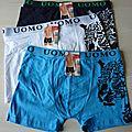 Lot de 3 Boxer homme <b>caleçon</b> lingerie coton taille L (38) neuf mode