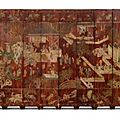 A Twelve-panel Brown-ground <b>Coromandel</b> <b>Lacquer</b> Screen. Qing dynasty, Kangxi period