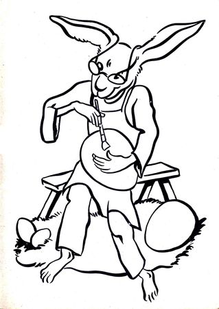 coloriage_lapin_paques_n_b