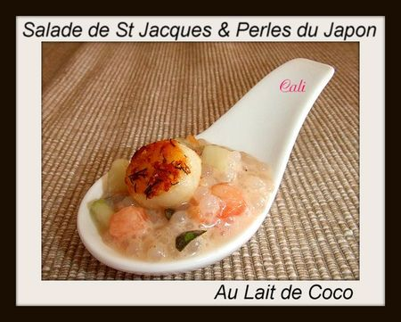 salade de noix de st jacques et perles du japon au lait de coco ensalada de vieiras y perlas. Black Bedroom Furniture Sets. Home Design Ideas