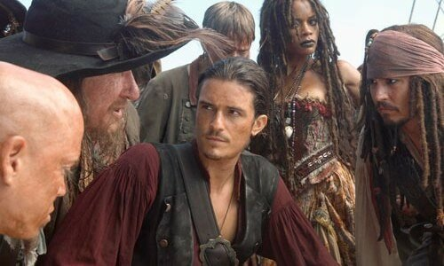 Geoffrey Rush, Orlando Bloom, Mackenzie Crook, Naomie Harris et Johnny Depp