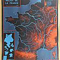 Collection ... <b>Affiche</b> RELIEF de la FRANCE / CONTOURS de la FRANCE
