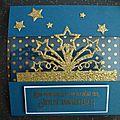Carte étoilée en bleu et or