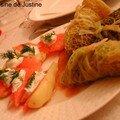 Les entrées du repas de Noël: aumônières aux saint-jacques, patates au <b>saumon</b> <b>fumé</b>
