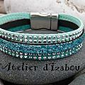 <b>Bracelet</b> festif avec son daim ou suédine à strass turquoise-canard et vert d'eau et son cuir structuré pailleté bleu turquoise !