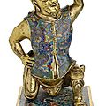 A very rare cloisonne enamel and gilt-bronze <b>foreigner</b>, China, Kangxi period