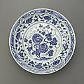<b>Blue</b>-and-White dish with flaring rim, Yongle period (1403-1424), Ming dynasty (1368 – 1644)