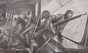 Zeppelin attaqué par des avions alliés L'Illustration