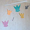 Mobile petits anges - Doré, argenté, bleu, jaune, rose, orange, <b>violet</b>, vert OBJETS DÉCO Objets deco objetsdeco2013