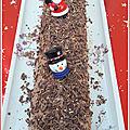 Bûche de Noël : gâteau roulé au <b>chocolat</b> praliné
