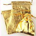 Lot de 100 sacs organza <b>doré</b> ou argenté 7*9 cm (réf dra-do-arg)
