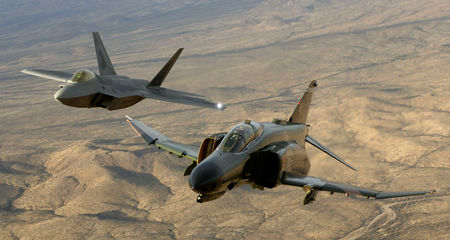 F-22A Raptor and F-4 Phantom firghter aircraft