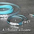 Bracelet homme en cuir turquoise et plume, voici la demande d'une cliente... Et vous, que choisiriez vous ?