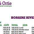 HORAIRE HIVER 2017