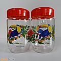 Vintage ... Pots en verre décorés LE <b>PARFAIT</b> * Les Toucans *