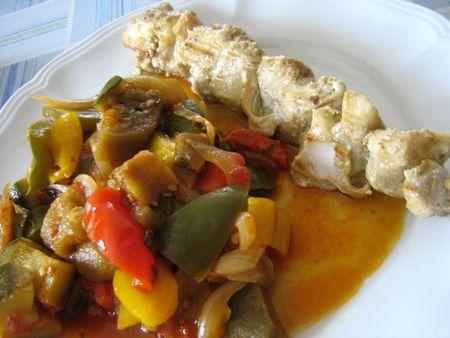 recettes  brochettes de cabillaud aux légumes du soleil(REGIME)