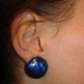 Boucles d'oreilles rond bleu en <b>résine</b>