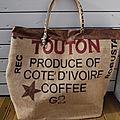 Sac cabas pour la plage - toile de jute de sac à café (Côte d'Ivoire) - réversible - Dimensions familiales- XXL