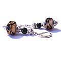 Boucles d'oreilles vintage argent 925, perles de murano café