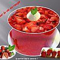 Gaspacho <b>fraises</b> , mousse de chocolat blanc.