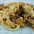 Spaghetti de pâte et de <b>courgette</b> au pistou