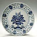 Dish with the Eight Buddhist <b>Symbols</b>, ca 1403-1487, Ming dynasty (1368-1644)