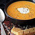 Velouté de <b>courge</b> butternut, carotte et gingembre