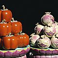 A magnificent and extremely rare pair of large <b>famille</b>-<b>rose</b> stands and trompe l'oeil persimmons and pomegranates, Qianlong perio
