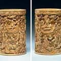 An exceptional carved ivory <b>brush</b> <b>pot</b>, 17th/18th century