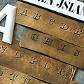 Ancien pochoir de brodeuse <b>alphabet</b> 