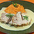 Rôti de porc ( aux <b>anchois</b>) et crème de romarin