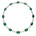 An oval jadeite <b>cabochon</b> and diamond necklace