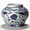 Jar with <b>lotus</b> scrolls, Ming dynasty (1368-1644), Reign of the Yongle emperor-Reign of the Xuande emperor