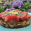 Le cru et le cuit: <b>galette</b> de courgette et tartare de tomates aux herbes fraîches