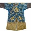 A blue-ground gold-<b>thread</b> silk dragon robe, China, 19th century