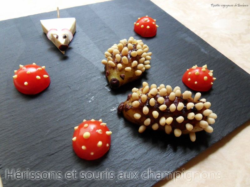 hrissons et souris aux champignons