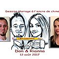 Dessins de mariage à imprimer - Drawing wedding for print - Betty caricaturiste
