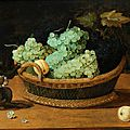 Master of the 17th century, school of Frankfurt, Still life with <b>monkey</b> and a basket of fruit
