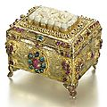 An Ottoman jade and <b>gem</b>-set silver-gilt casket, Turkey and China, 19th century