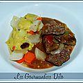 Boeuf braisé, sauce <b>aïoli</b> et légumes au bouillon