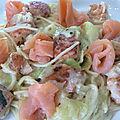 Linguines aux 2 <b>saumons</b> et à la crème au basilic