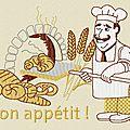 Motif machine à broder : boulanger bon appétit