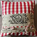 coussin ANGES NOEUDS vichy rouge 40x40 cm
