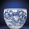 A finely painted massive blue and white 'landscape' fish basin, kangxi period (1662-1722)