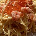 Linguine aux petites crevettes et aux oeufs de saumon