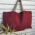Maxi tote bag, <b>Frida</b> <b>Kahlo</b>, sac de plage XXL, lin épais rouge bordeaux, modèle familial, modèle unique,