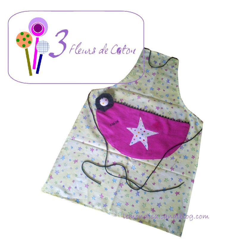 tablier étoile jaune 3 fleurs de coton