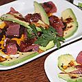 Des de thon rouge a l'orange et au vinaigre balsamique